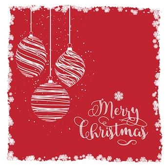 Fondo rojo de bolas de navidad dibujadas a mano