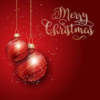 Fondo rojo de bolas de navidad