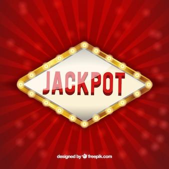 Fondo rojo con cartel luminoso de jackpot