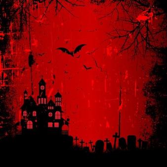 Fondo rojo con una casa encantada para halloween