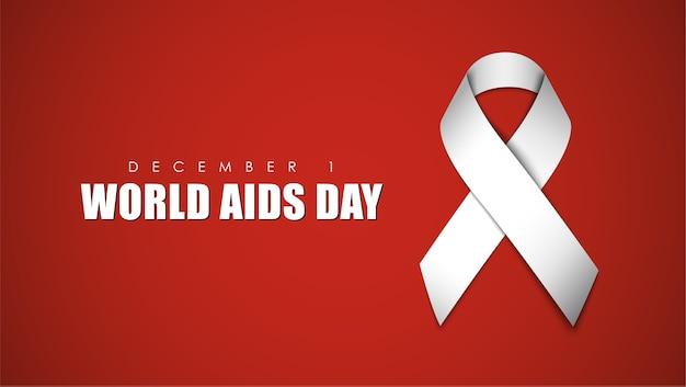 Fondo rojo con cinta blanca para el día mundial del sida