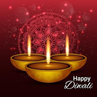 Fondo rojo con diya y luces para diwali
