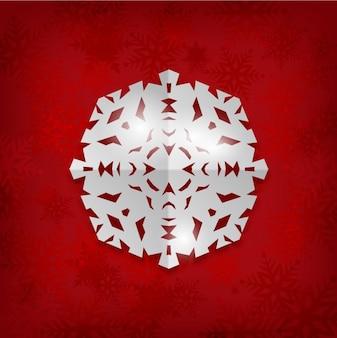 Fondo rojo de copo de nieve de papel