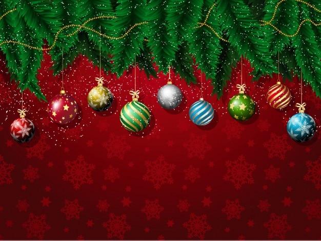 Fondo rojo de copos de nieve de tipos de bolas navideñas