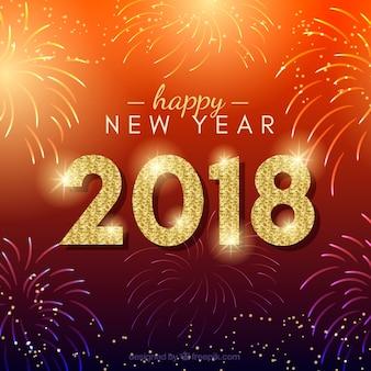 Fondo rojo de año nuevo con fuegos artificiales
