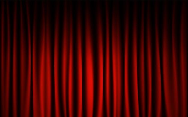 Fondo rojo de la demostración del concierto de la etapa de la cortina. concepto del papel pintado del extracto y del fondo.