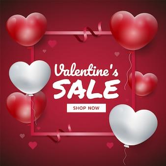 Fondo rojo del día de tarjeta del día de san valentín con los corazones 3d. ilustración de vector de promoción de ventas, para sitio web