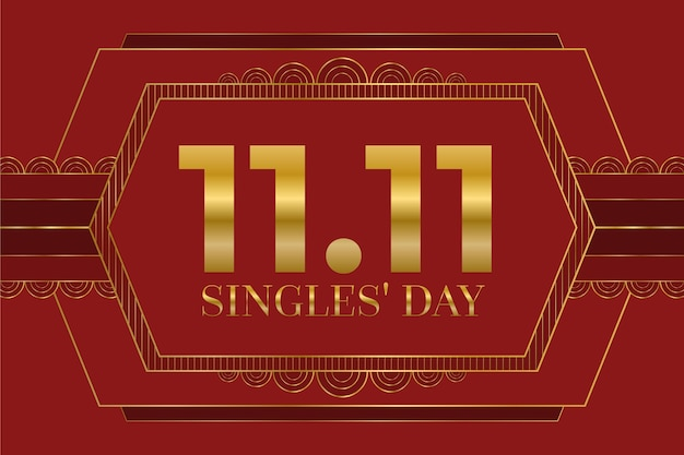 Fondo rojo y dorado del día de los solteros con fecha