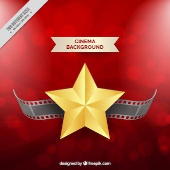 Fondo rojo con estrella dorada y fotograma