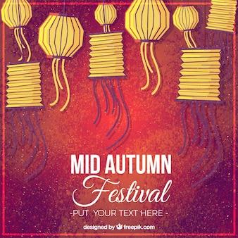 Fondo rojo con farolillos amarillos, festival del medio otoño