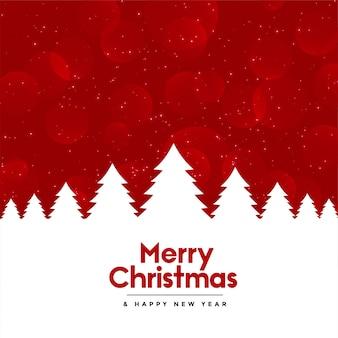 Fondo rojo feliz navidad con árbol