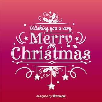 Fondo rojo de feliz navidad con lettering