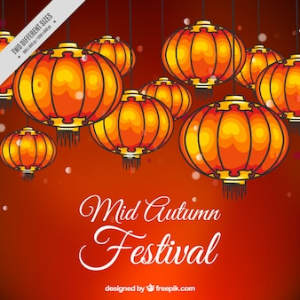 Fondo rojo del festival de medio otoño con farolillos