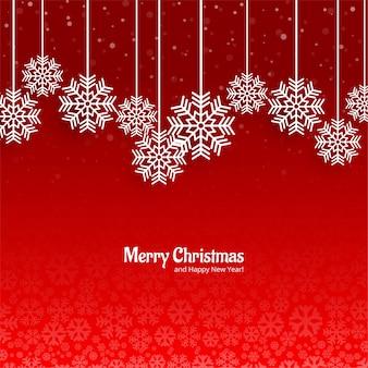 Fondo rojo hermoso de la tarjeta de snowflack de la navidad