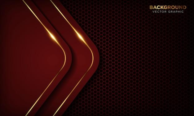 Fondo rojo de lujo con capas superpuestas. textura con línea dorada y efecto de luz dorada brillante.