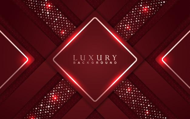 Fondo rojo de lujo con decoración de brillos dorados