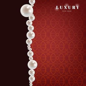Fondo rojo de lujo con perlas