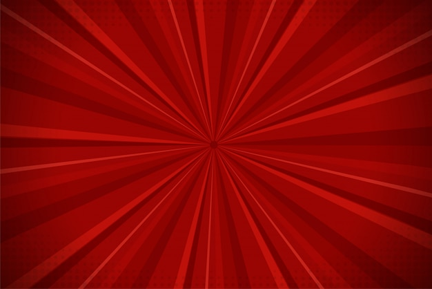 Fondo rojo de la luz del sol de la historieta cómica abstracta de ray.