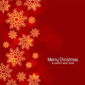 Fondo rojo moderno de los copos de nieve de la feliz navidad del color