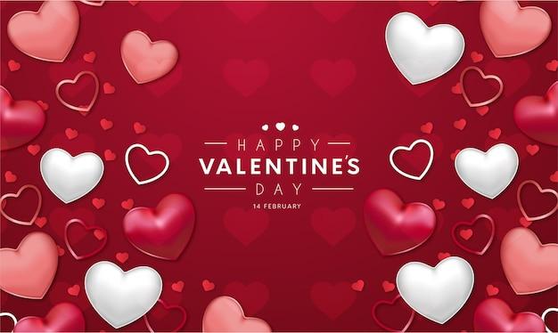 Fondo rojo moderno feliz día de san valentín con corazones realistas