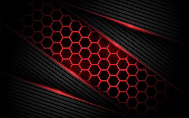 Fondo rojo moderno del hexágono