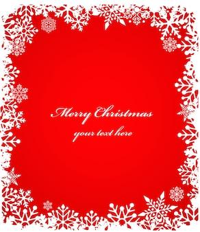 Fondo rojo de navidad enmarcado con copos de nieve. ilustración