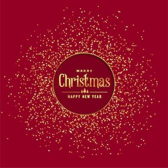 Fondo rojo de navidad con purpurina dorada.