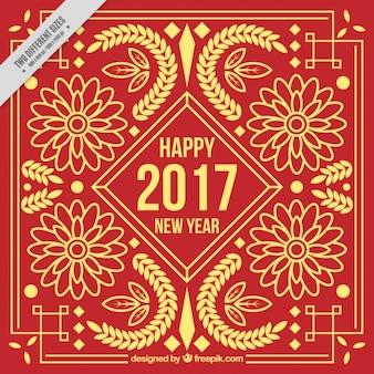 Fondo rojo ornamental floral dorado de año nuevo chino