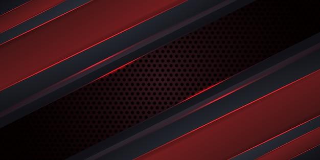 Fondo rojo oscuro de carbono con líneas luminosas.