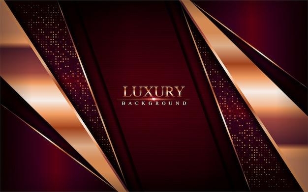 Fondo rojo oscuro de lujo se combinan con elementos de líneas de bronce dorado.