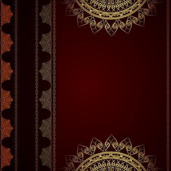 Fondo rojo oscuro de lujo de mandala