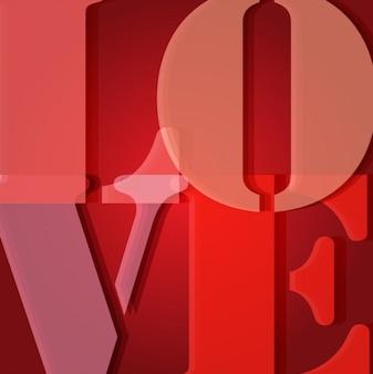 Fondo rojo con la palabra amor