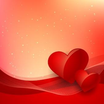 Fondo rojo de san valentín con ondas y corazones