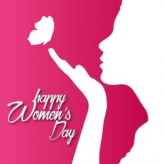 Fondo rojo con una silueta para el día de la mujer