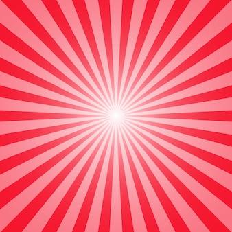 Fondo rojo de sol y rayos para su diseño