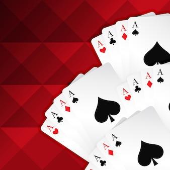 Fondo rojo con la tarjetas de juego
