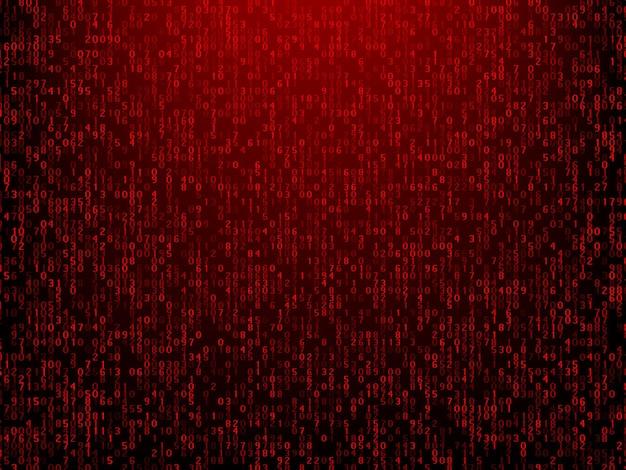 Fondo rojo de tecnología abstracta con código de computadora. programación, pirata informático, codificación, ilustración vectorial bitcoin