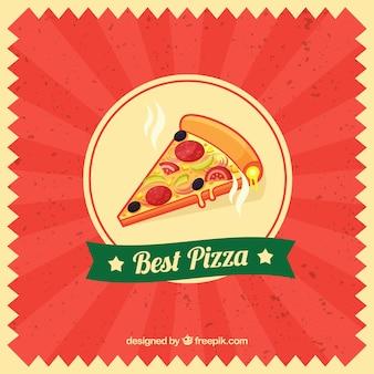 Fondo rojo vintage con trozo de pizza