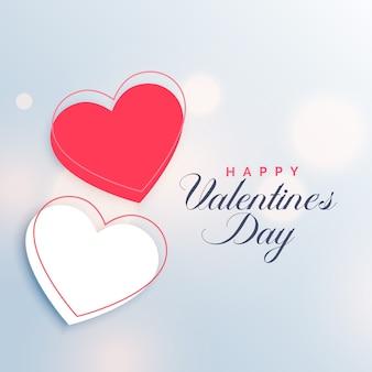 Fondo rojo y blanco dos corazones día de san valentín
