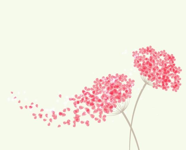 Fondo romántico con flores hortensias