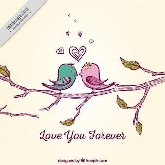 Fondo romántico con pájaros lindos en una rama