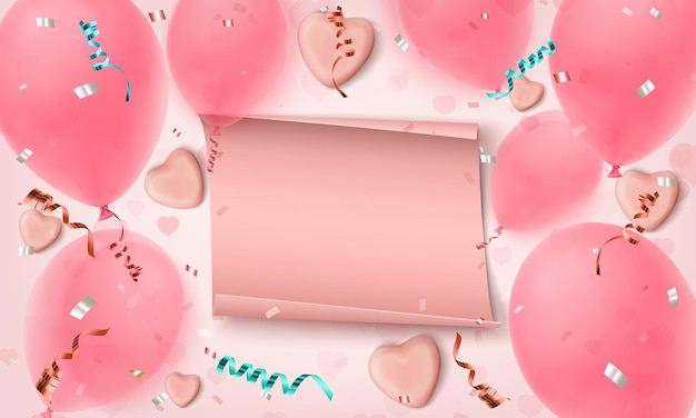 Fondo rosa abstracto con banner de papel, corazones de caramelo, globos, konfetti y cintas.
