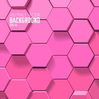 Fondo rosa abstracto con hexágonos geométricos