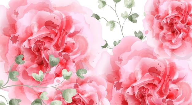 Fondo rosa de acuarela de rosas