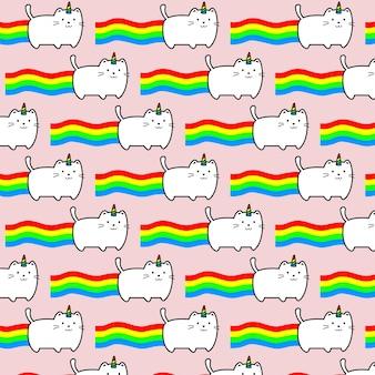 Fondo rosa arco iris con gato