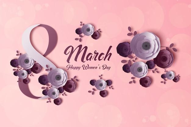 Fondo rosa para el día de la mujer con flores festivas.