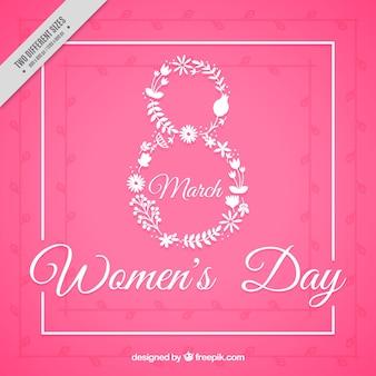 Fondo rosa del día de la mujer con ocho hecho de flores