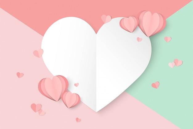 Fondo rosa del día de san valentín con forma de corazón