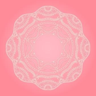 Fondo rosa con encaje blanco redondo