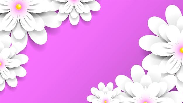 Fondo rosa con flores blancas